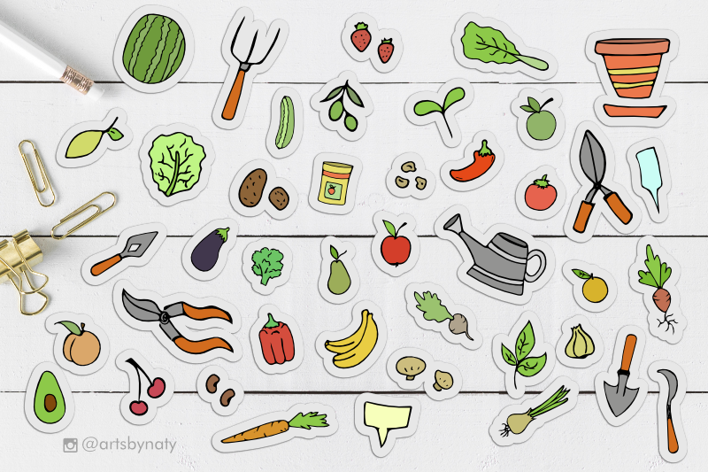gardening-illustrated-elements-bundle-with-fruits-and-veggies