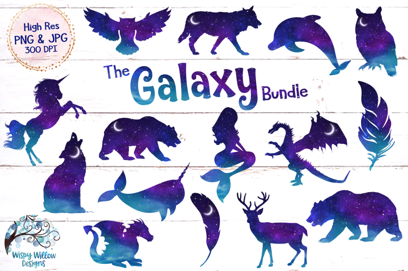 space-galaxy-animal-clipart-night-sky-unicorn-mermaid-wolf
