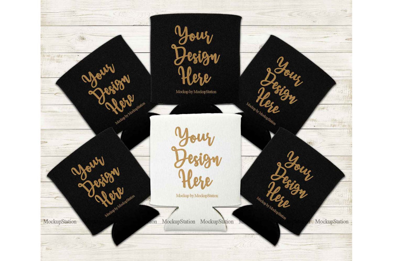 Free Bride Can Coolers Mockup, Black White Can Holder Flat Lay (PSD Mockups)