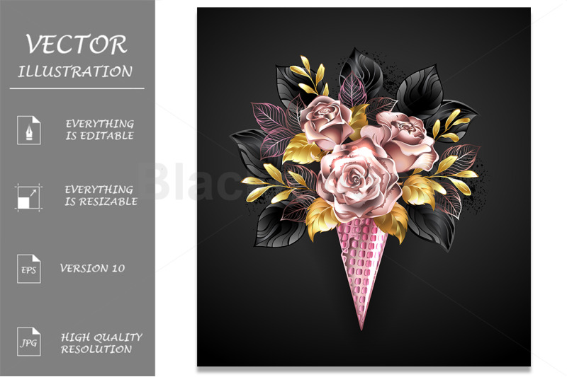 roses-in-rose-gold-waffle-horn