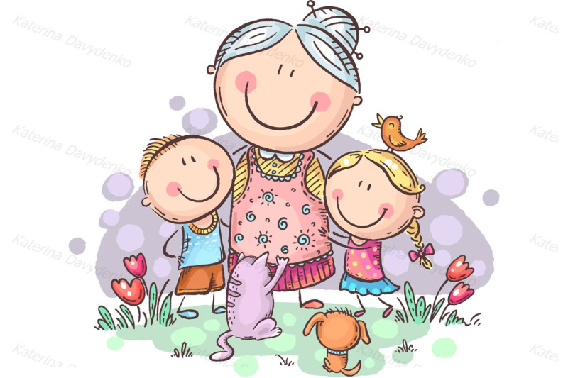 everyone-loves-granny-grandmother-with-grandchilren-and-pets