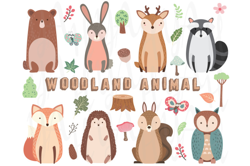 woodland-animal-elements-set
