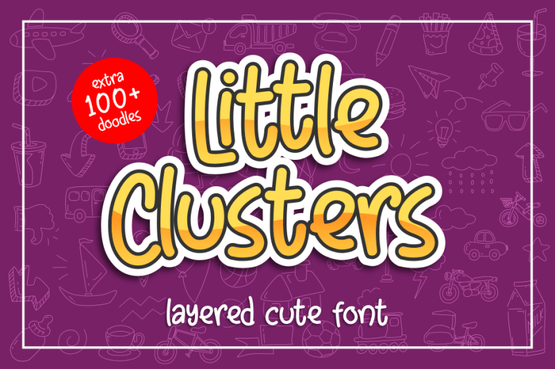 little-clusters-layered-cute-font-with-doodles