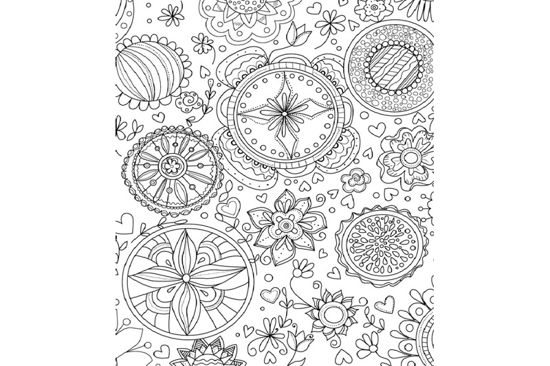 Digital Coloring Book Page For Adults, Abstract Design By