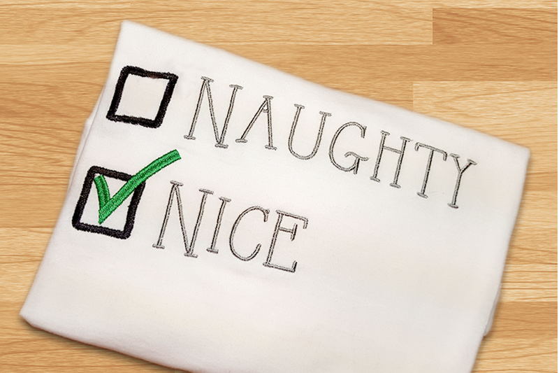 Christmas Naughty Or Nice Embroidery By Designed By Geeks
