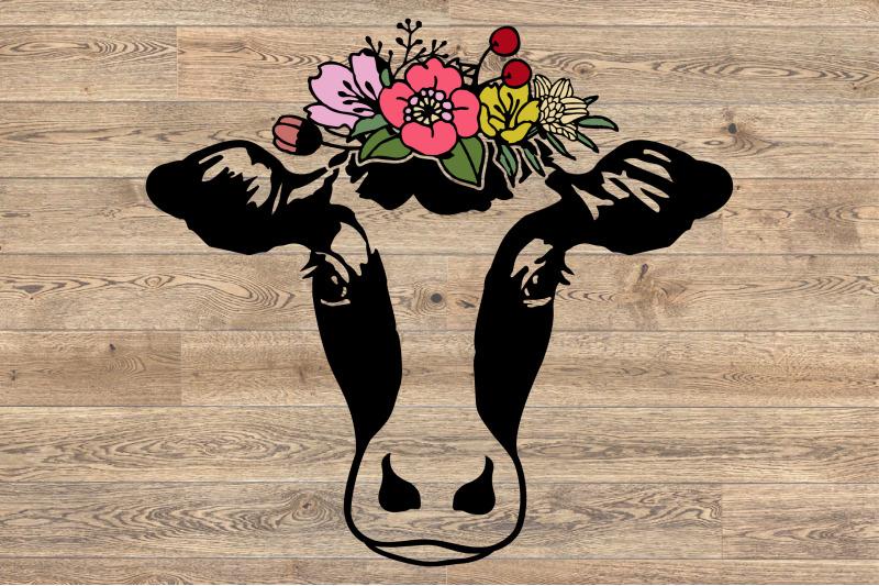 heifer svg cow floral please bandana crazy flower roses