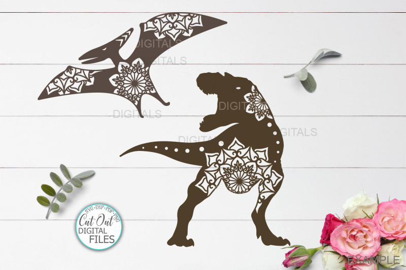 mandala-floral-dinosaurs-bundle-cut-out-templates-svg-dxf-pdf