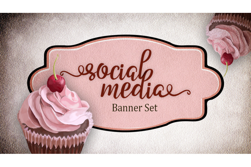 premade-social-media-template-banners-with-copy-space-and-cupcake