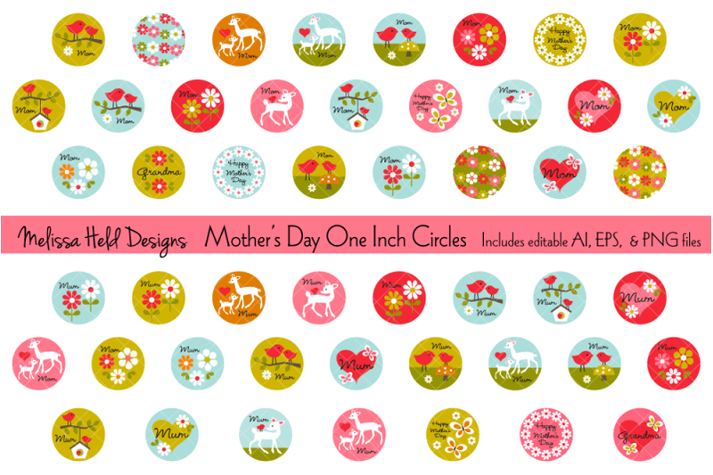 mothers-day-one-inch-circles