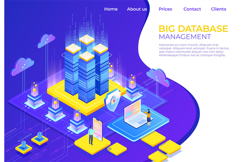 database-isometric-concept-server-business-technology-landing-page-b