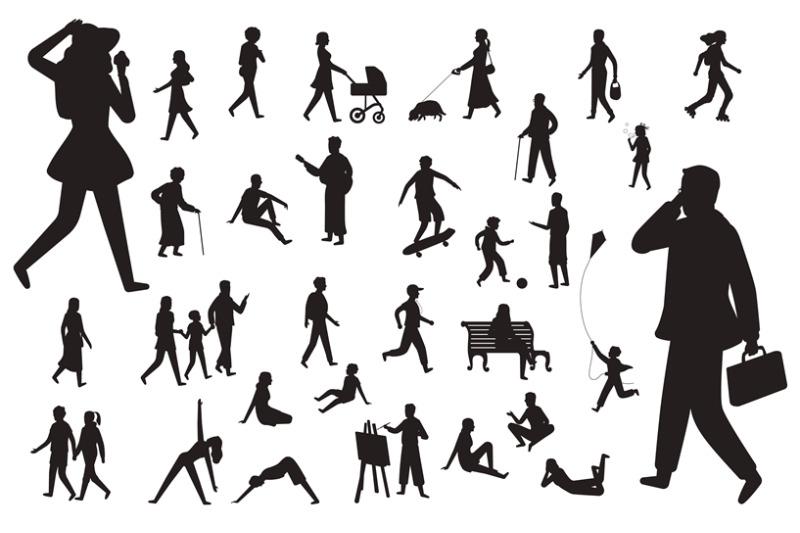 walk-people-silhouette-black-figures-of-happy-children-woman-young-la