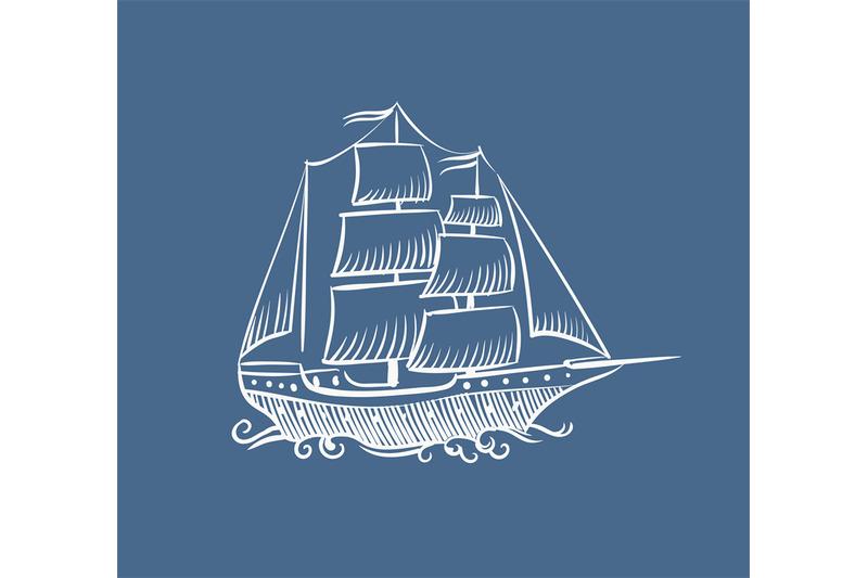 Vintage Sailboat Sketch Vintage boat sk...