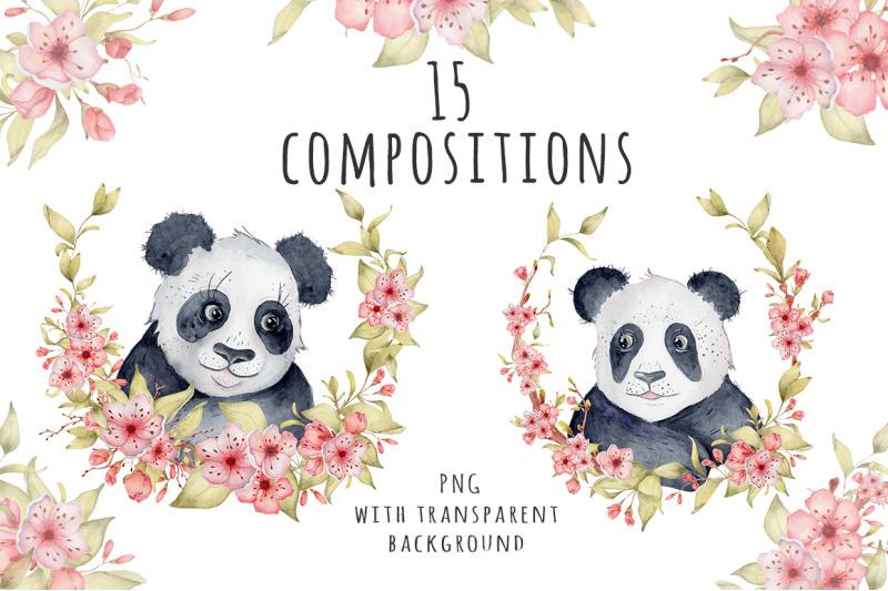 lovely-pandas-and-sakura-flowers-watercolor-set