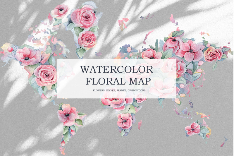 watercolor-floral-world-map