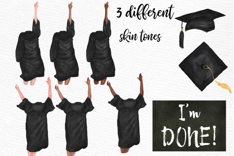 Graduation Clipart Graduating Girls Watercolor Clipart By