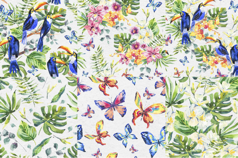 tropical-toucan-seamless-patterns