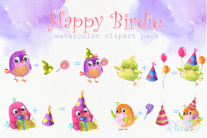 birthday-watercolor-clipart-with-cute-birds-balloons-candy-gifts-nu