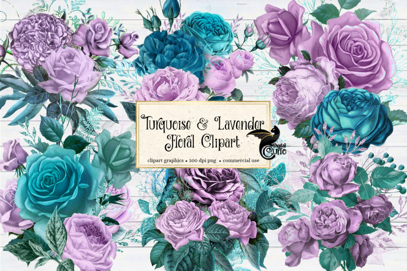 turquoise-and-lavender-floral-clipart