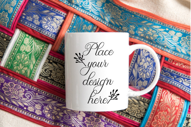 Free Coffee cup mock up colorful oriental mug stock photo mockup (PSD Mockups)
