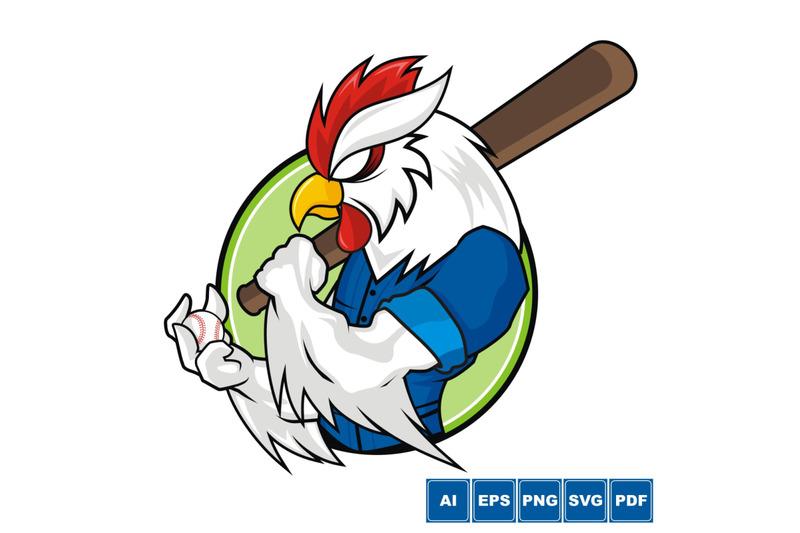 baseball-mascot-white-rooster