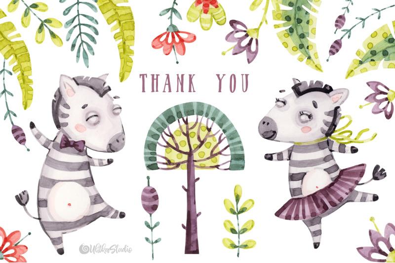 cute-zebra-friends-kids-horse-watercolor-baby-animals-clipart