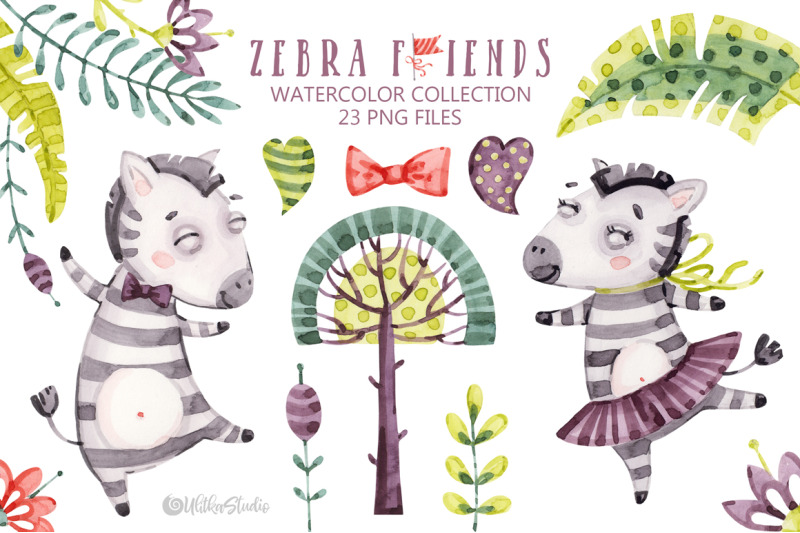 cute-zebra-friends-kids-naive-horse-watercolor-baby-animals-clipart
