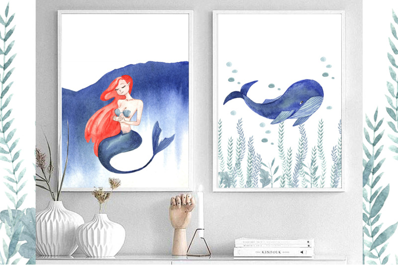 mermaid-and-blue-whale-watercolor