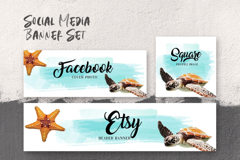set-of-social-media-templates-with-copy-space-sea-turtle-amp-starfish