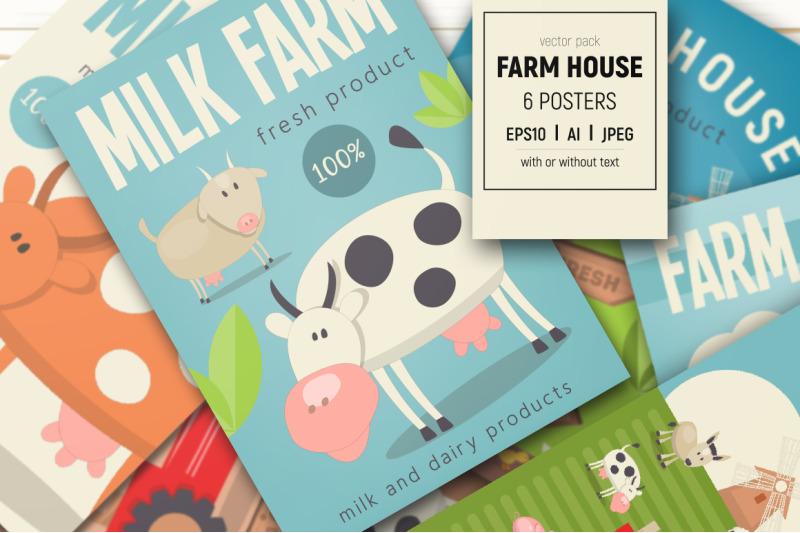 Free Farm House Posters Set (PSD Mockups)