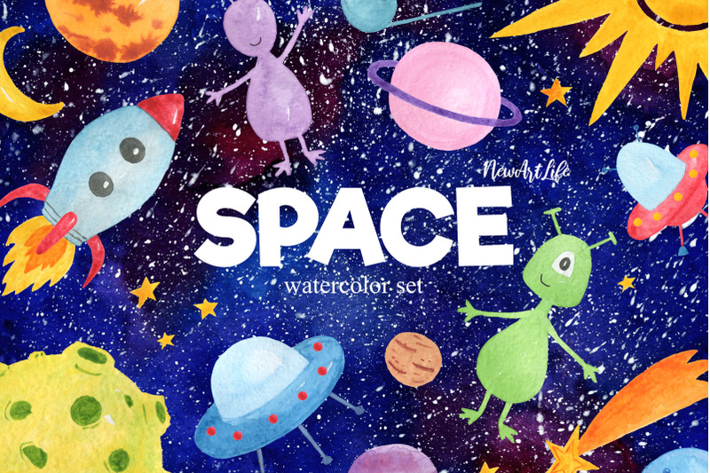 space-watercolor-clipart-set
