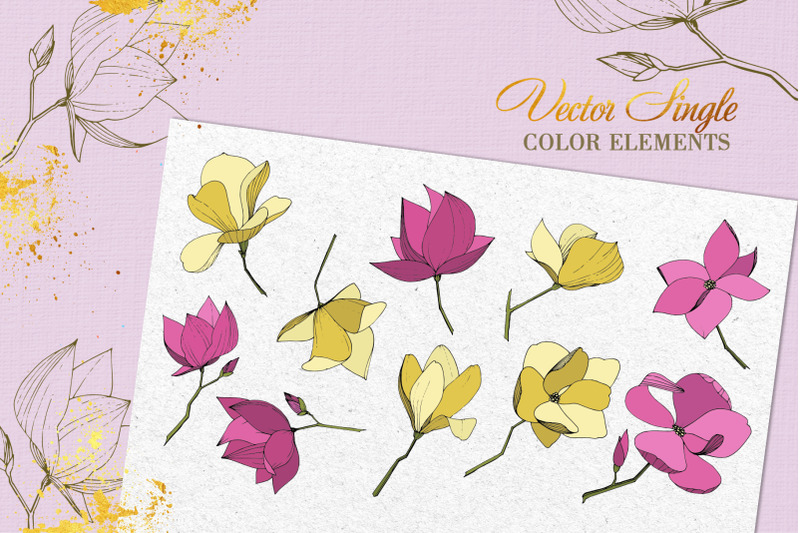 magnolia-vector-set