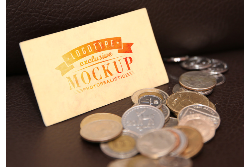 Free Photorealistic mock-ups with coins on background (PSD Mockups)