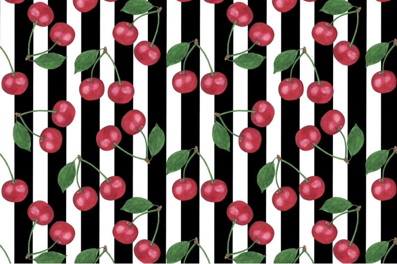 watercolor-cherry-set-pattern-cherry-berry-watercolor-digital-paper-se