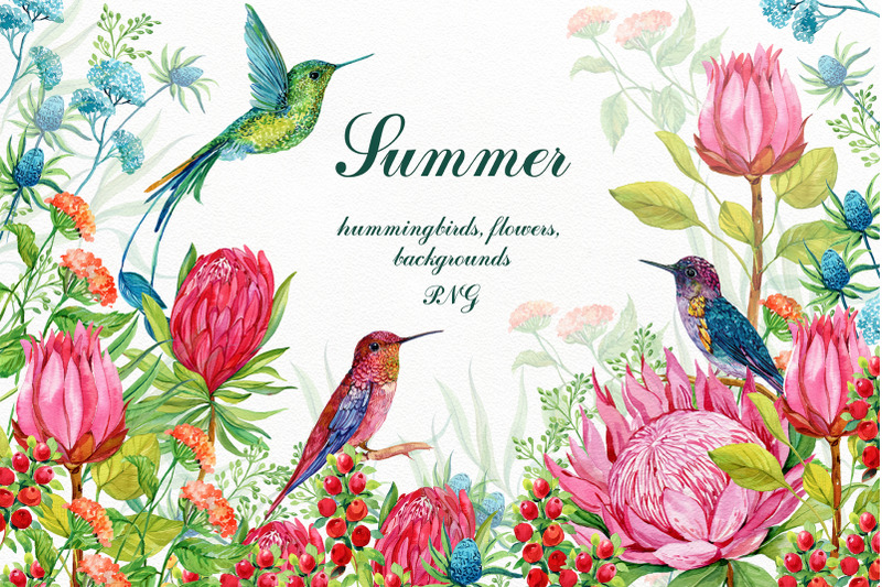 hummingbirds-exotic-flowers-clipart
