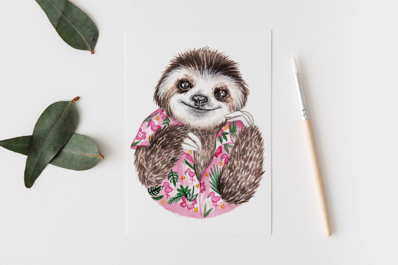 watercolor-sloths