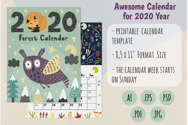 2020-forest-calendar-template