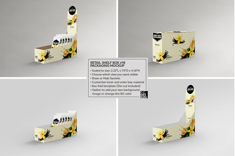 Download Box 18 Sachets Mockup Yellow Images