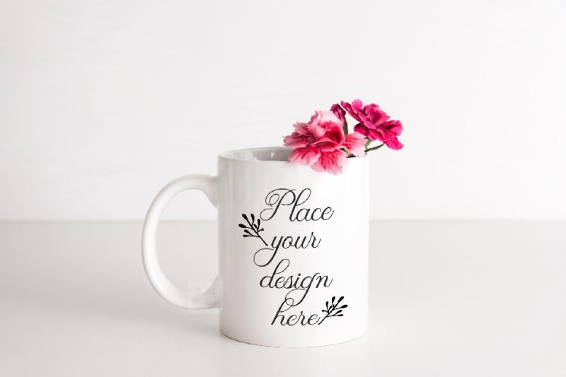 mockup-mug-sublimation-coffee-minimal-cup-mock-up-pink-stock-photo