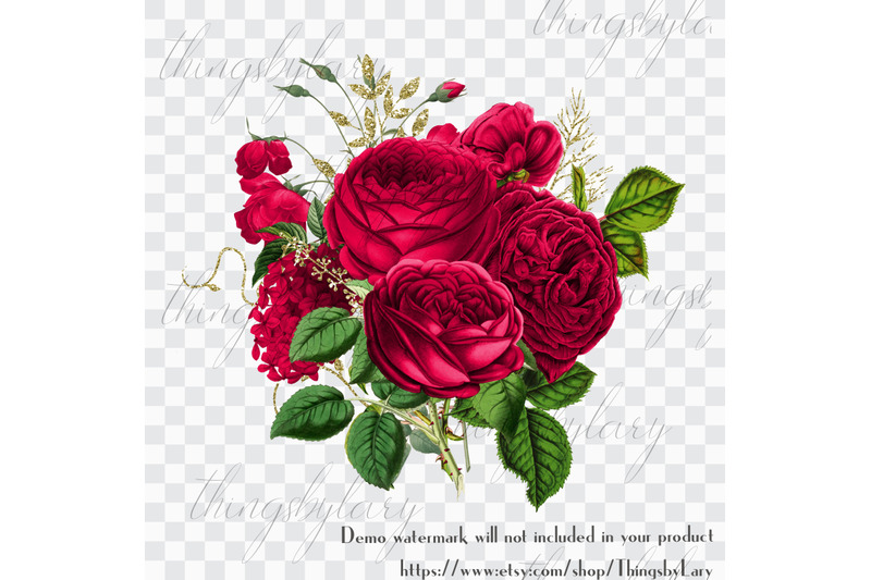 30-red-flowers-rose-peony-antique-old-bouquet-digital-images