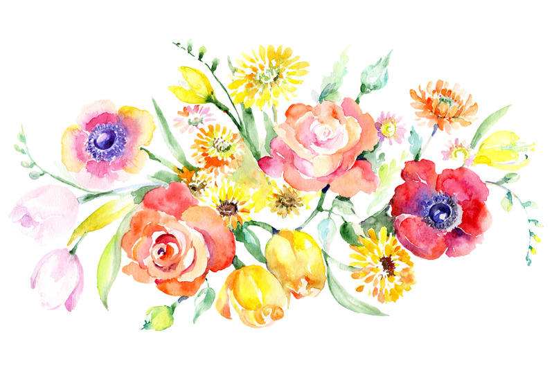 bouquet-with-roses-tulips-and-poppies-watercolor-png