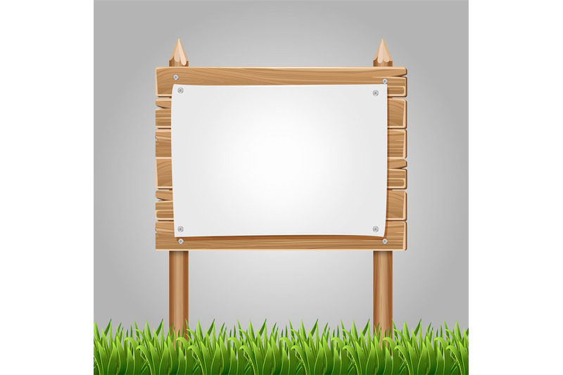 wooden-information-blank-with-green-grass
