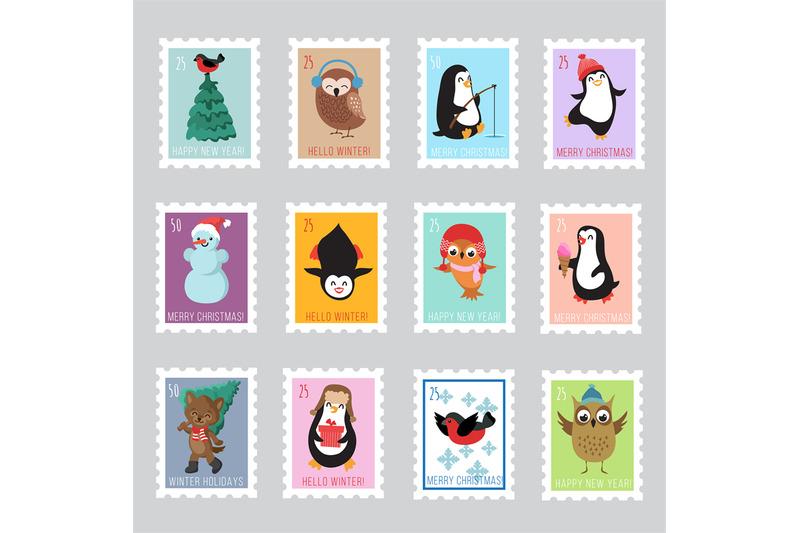 christmas-santa-postage-stamps-for-greeting-card-vector-set