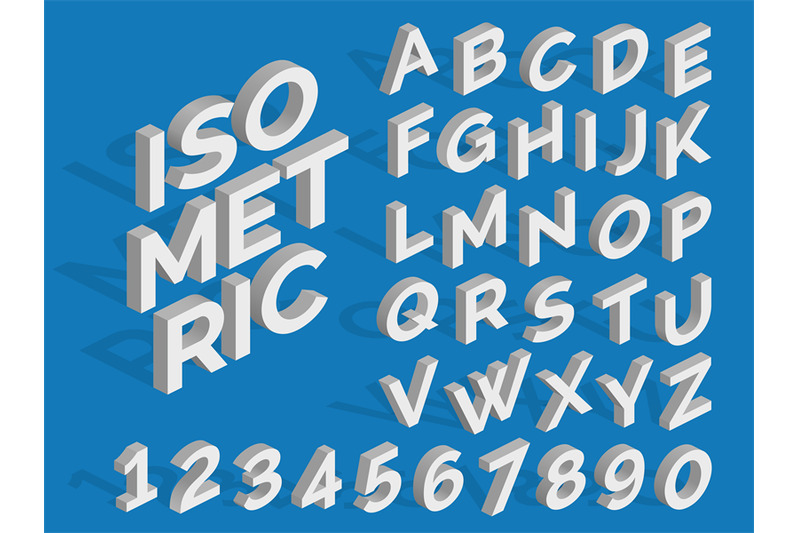 vector-isometric-alphabet-and-numbers-funky-3d-font