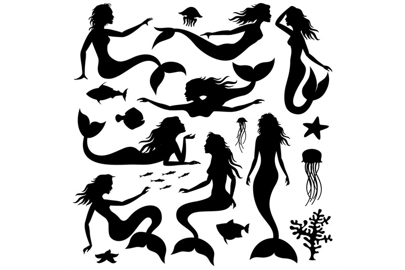 swimming-underwater-mermaid-black-vector-silhouettes