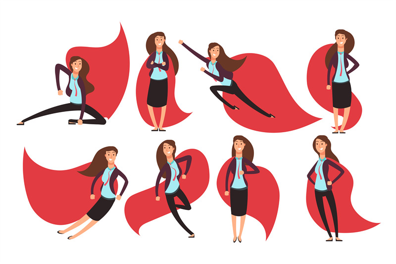 cartoon-businesswoman-superhero-in-red-cloak-different-actions-and-po