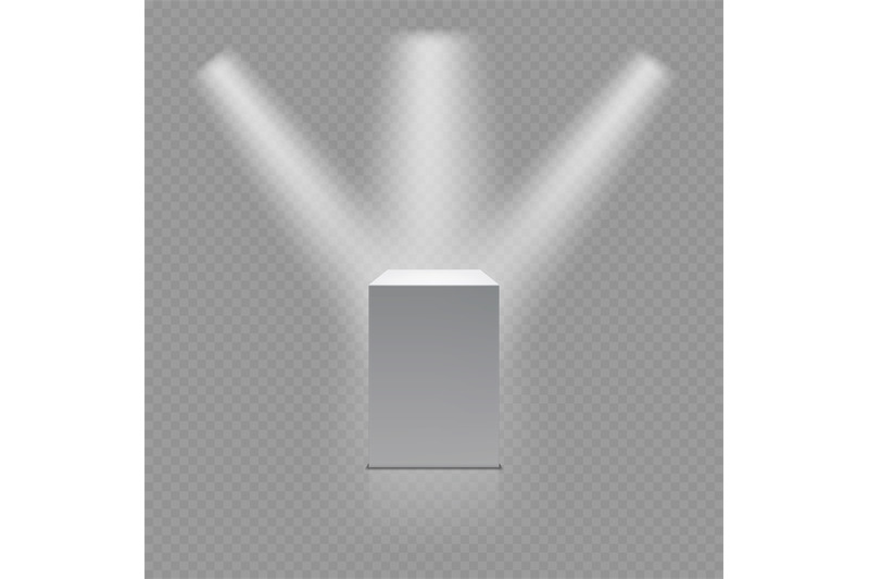museum-pedestal-white-empty-3d-podium-and-spotlights