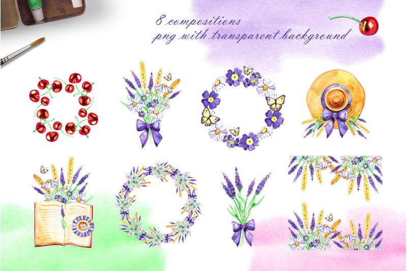 watercolor-summer-cottage-set