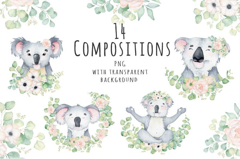 lovely-koalas-and-eucalyptus-watercolor-set