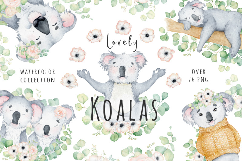 lovely-koalas-and-eucalyptus-watercolor-set