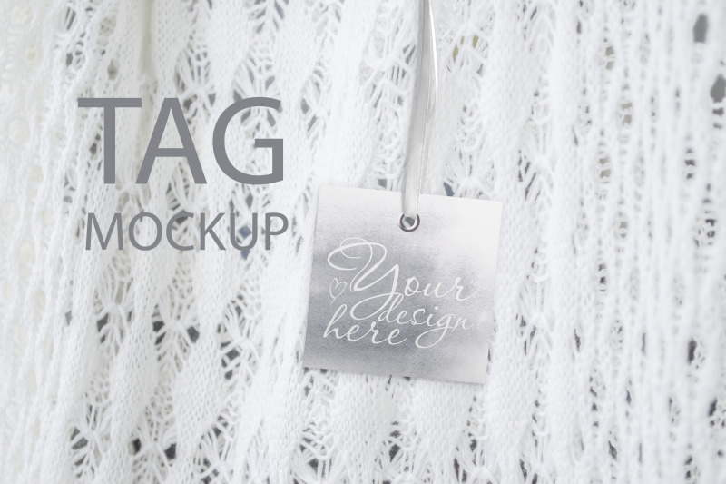 Free Square Tag Mockup, Styled Stock Photography, Wedding Thank You Tag (PSD Mockups)